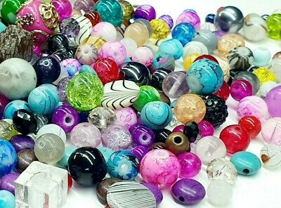 £3.20 • Buy X100 Assorted Bead Mix Glass Metal Natural Rock Jewellery Mixed Beads 6mm-10mm