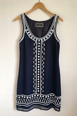 £10 • Buy PRINCIPLES BEN DE LISI Size 10 Navy White Beaded Lined Shift Dress Party Wedding