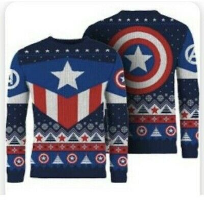 £34.99 • Buy XS 38  Chest Avengers Ugly Christmas / Xmas Jumper / Sweater - Captain America