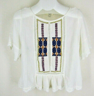 £12.74 • Buy Umgee Peasant Top Sz M Embroidered Lace Hippie Boho Natural Gauze