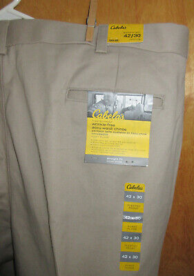 $13.50 • Buy NEW W/ Tags: Cabela's Wrinkle-free 42x30 Cotton Twill Chinos, Stretchy Waistband