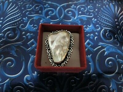 $44.99 • Buy Triangle Ring Silver Sterling Biwa/mabe/blister/mother Of Pearl 925 Size 8-8 1/3