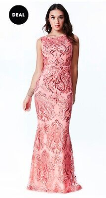 £10 • Buy Coral Goddiva Sequin Embroidered Maxi Dress BNWT Size 10 Prom Dress
