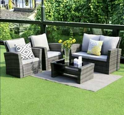 AU499 • Buy 4 Seater Sofa Set Outdoor Furniture Lounge  Wicker Chairs And Glass Top Table