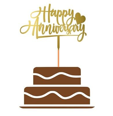 £2.99 • Buy Happy Anniversary Cake Topper Party Decoration Love Wedding | Gold Mirror
