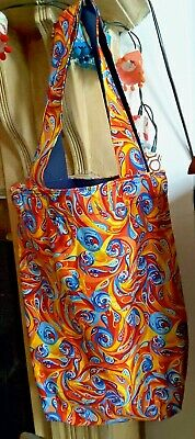 £9.99 • Buy Vintage Psychedelic Retro Tote Bag Hand Crafted Quirky Hippy Boho Unique Stylish