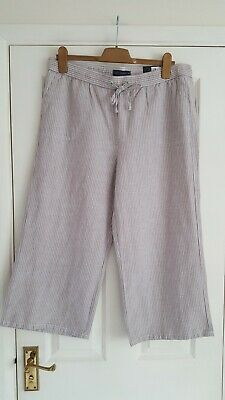 £12.99 • Buy M&S Natural Beige Striped Linen Blend Wide Leg Cropped Trousers Size 14 BNWT