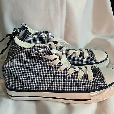 £7 • Buy Primark Women Canvas High Top Trainers Blue Checked UK6 New With Tag