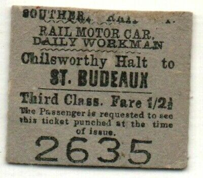 £13 • Buy Southern Railway Ticket Chilsworthy Halt To St. Budeaux