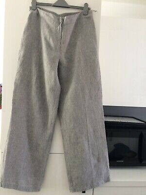 £20 • Buy Crea Concept  Grey Fully Lined 95% Linen Trousers Size 44 Lagenlook 14 16