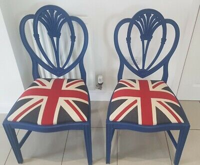 £50 • Buy Vintage Hand Painted - Union Jack - Pair Of Statement Wooden Chairs