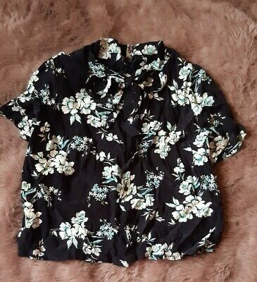 £1.99 • Buy Topshop Blouse Shirt Crop Black Floral Pussybow Size 12 Summer Short Sleeve Tee