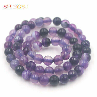 $ CDN1.20 • Buy 6mm Round Smooth Surface Gemstone Purple Banded Agate Jewelry Beads Strand 15