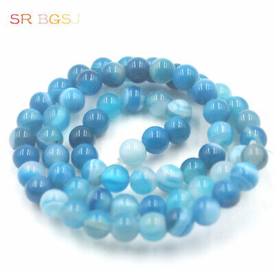 $ CDN1.20 • Buy 6mm Round Smooth Surface Gemstone Blue Banded Agate Jewelry Beads Strand 15