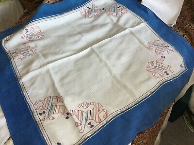 £20 • Buy Antique Hand Embroidered French Linen Tablecloth Elaborate Drawn Thread 6 Napk