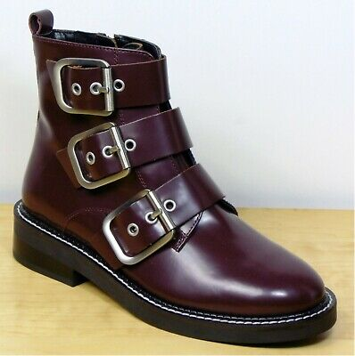 £27.99 • Buy M&S Real LEATHER Buckle Detail ANKLE BOOTS ~ Size 8 ~ BURGUNDY (rrp £79)