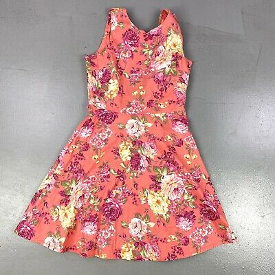 £24.99 • Buy Vintage Pink Floral Backless Bow Skater Dress Approximate Size Small