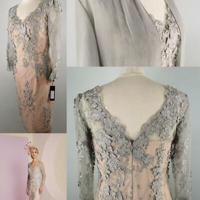 £199 • Buy NEW Veni Infantino 10 12 Pink Grey Lace Fitted Dress & Coat Mother Of The Bride