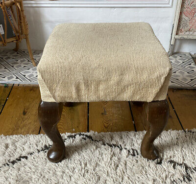 £24.99 • Buy Vintage Footstool Queen Anne Legs Cushioned Good Condition