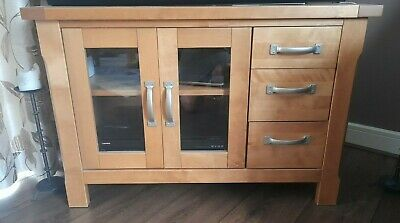 £5 • Buy Pine TV Cabinet With Two Glass Doors And 3 Drawers