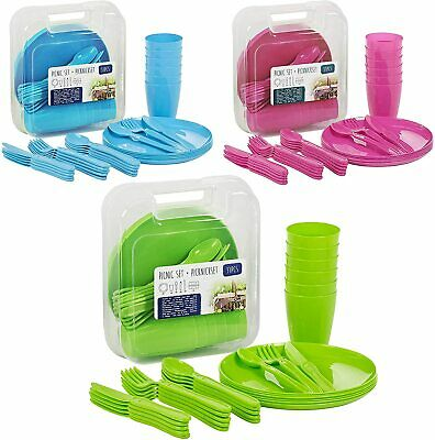 £11.99 • Buy 31 Piece Plastic Picnic Camping Party Dinner Plate Mug Cutlery Set Storage Box