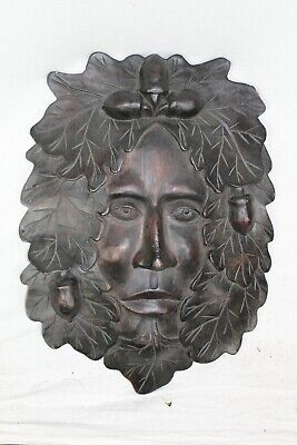£54.95 • Buy Bn Large Wood Carving Green Man /  Sprit Of The Forest Pagan Wiccan Hippie