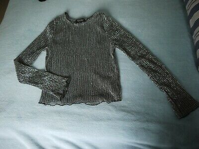 £1.80 • Buy Mesh Silver And Black Top Uk8, Womans, Shiny, Party, Topshop