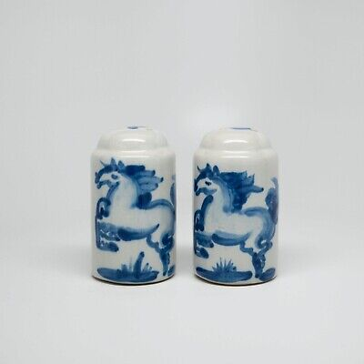 $8.99 • Buy M.A. Hadley Handcrafted Signed Salt And Pepper Shakers Blue Horse W/ Chip