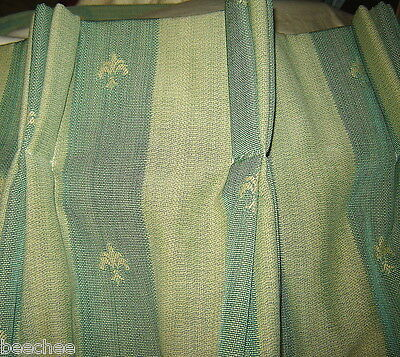 £249.99 • Buy Green Woven Texture Fleur De Lys Very Large Lined And Interlined Pair Curtains