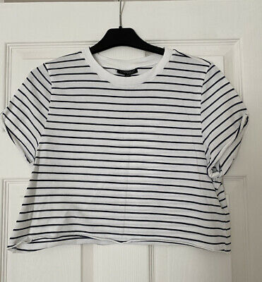 £4 • Buy Topshop Cropped Striped Tee TShirt Size 8