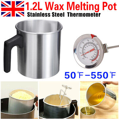 £4.99 • Buy Wax Melting Pot Pouring Pitcher Jug Aluminium Candle Soap Make Thermometer 1.2L