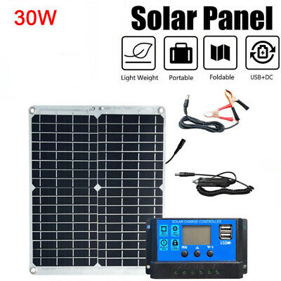 £18.99 • Buy Portable 30W Solar Panel Kit Battery Charger 10A Controller Car Van Camping Boat