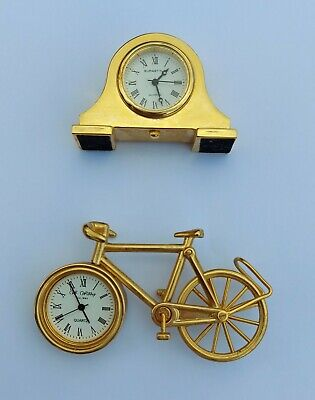£15.99 • Buy 2 X Miniature Clocks Bicycle And Mantle Style