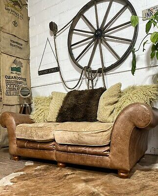 £295 • Buy Halo Vintage Leather Fabric 2 Seater Sofa + All Cushions