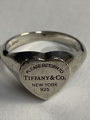 £73.16 • Buy Vintage Sterling Silver 925 Tiffany & Co Silver Return To Heart Ring Band Size 7
