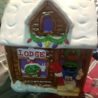$23 • Buy Ceramic M&M's Candy/Cookie Jar Christmas Lodge Winter Decor By Galerie