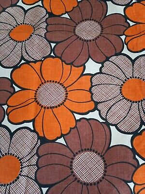 £11.99 • Buy Vintage Flower Power Curtain Fabric 60s 70s Crafts Project Lampshade W 22 X 68