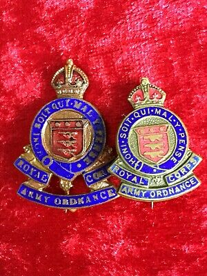 £4.25 • Buy Post 1918 2x Lovely Royal Army Ordnance Corps Enamel Sweetheart Brooches