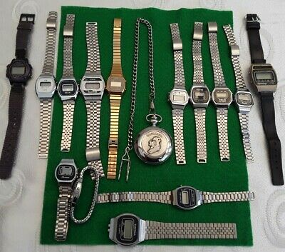 £5.70 • Buy Fab Job Lot Of 14 Vintage Gents And Ladies Digital Watches And A Pocket Watch,,
