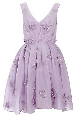 AU30 • Buy New With Tags ASOS Purple Lilac Embroidered Tulle Dress With Floral Applique 12