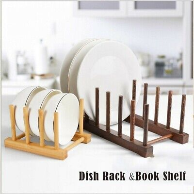 £7.10 • Buy Bamboo Wooden Dish Rack Plate Stand Pot Lid Holder Cabinet Organizer Kitchen