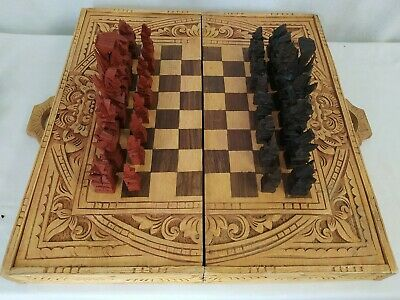 £13.50 • Buy Folding Wooden Chess And Backgammon Board Set With Oriental Style Pieces