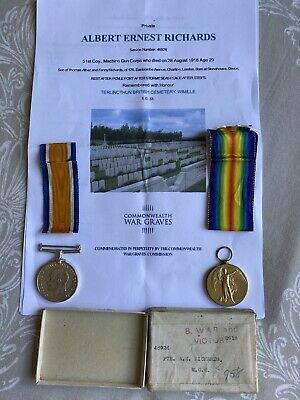 £200 • Buy WW1 Medals A E Richards Machine Gun Corps MGC Casualty Died Terlincthun Cemetery