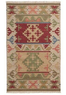 £100 • Buy Bikaner Wool Cotton Kilim Rug Geometric Design With Natural And Multi Colours