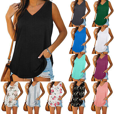 AU11.27 • Buy Women Sleeveless Loose Vest T Shirt Ladies Summer Cami Camisole Blouse Tops Tee