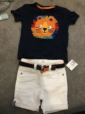 £2.50 • Buy Blue Zoo White Denim Shorts And Lion Top Set 12-18 Months New With Tags