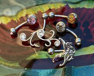 £0.99 • Buy Selection If Five Belly Bars - Belly Button Jewellery - Various Colours - Steel