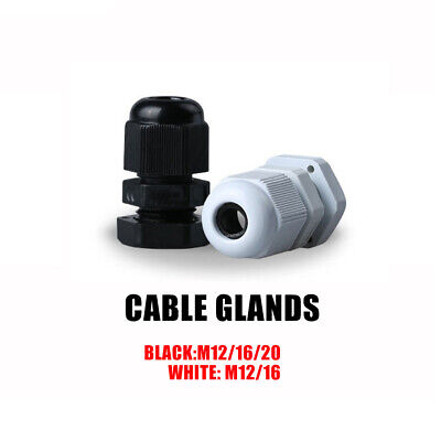 $8.49 • Buy Black Or White Waterproof Nylon Cable Gland M12 M16 M20 M12L M16L IP68 With Seal