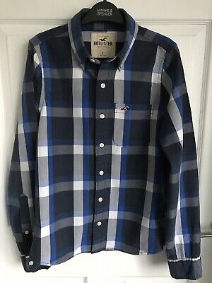 £3.95 • Buy Men's Blue/White Checked Hollister Long Sleeved Cotton Shirt - Size Small