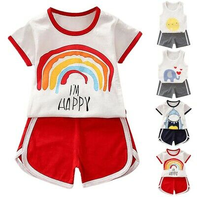£5.41 • Buy Baby Boys Girls Tops + Shorts Set Kids Outfits Clothes Sport Casual Suit Summer
